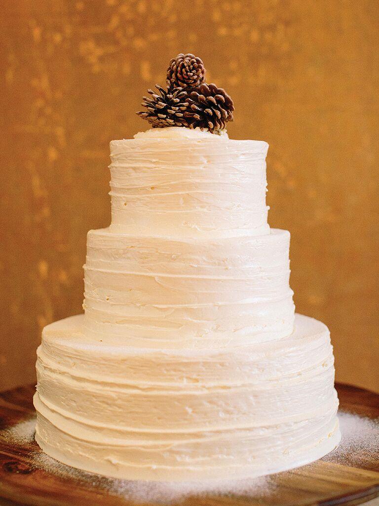 DIY Rustic Pinecone Wedding Cake Topper Idea