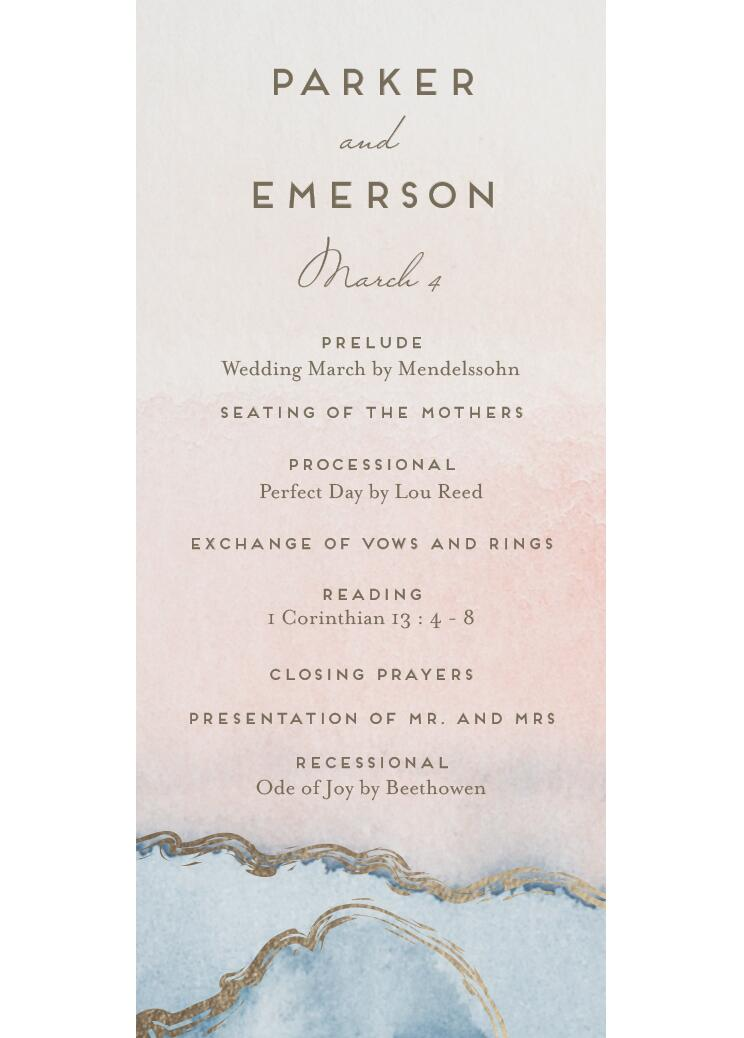 Simple Agate Foil-Pressed Wedding Program