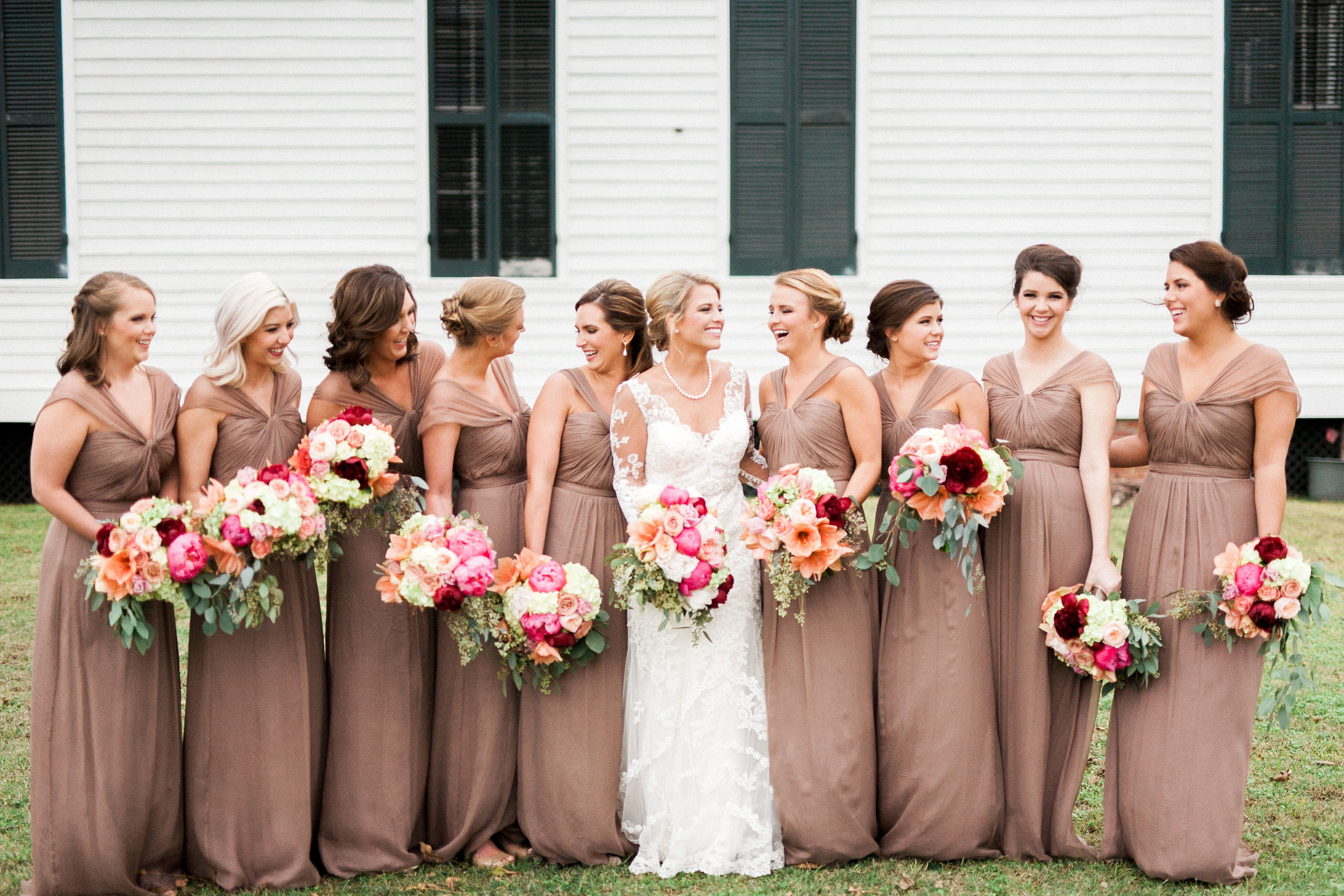 Mocha Colored Bridesmaid Gowns