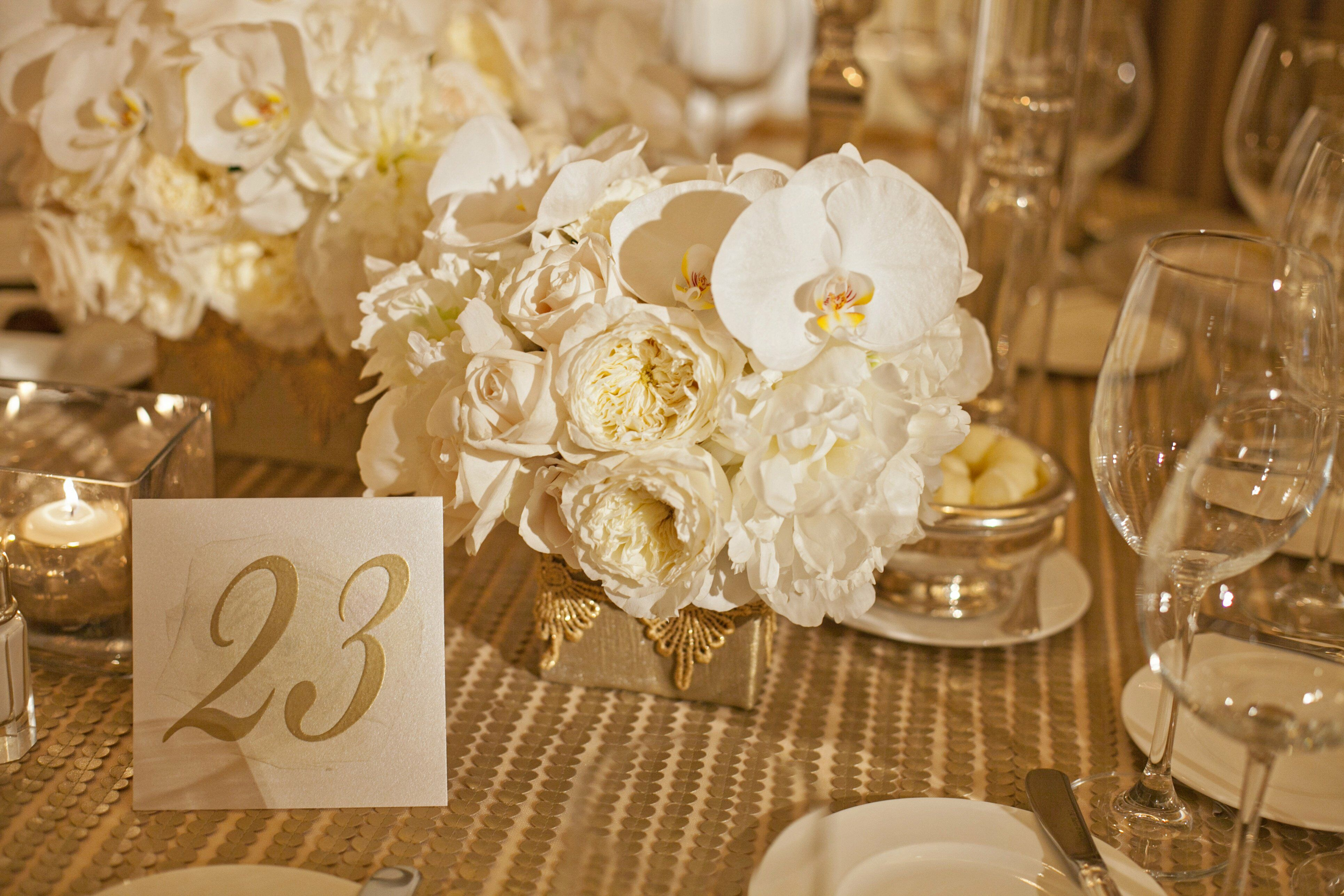 Brown And Gold Wedding Ideas: Gold And Cream Table Decor