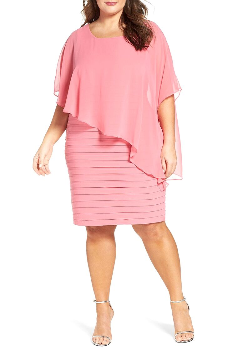 Pink Chiffon Sheath Plus Size Beach Wedding Guest Dress
