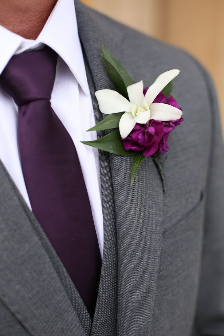 White Orchid Purple Peony Boutonniere