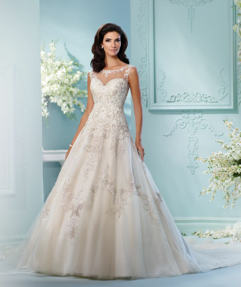 David tutera spring 2017 collection bridal fashion week photos david tutera spring 2017 illusion weetheart lace and beaded a line wedding dress with high junglespirit Image collections