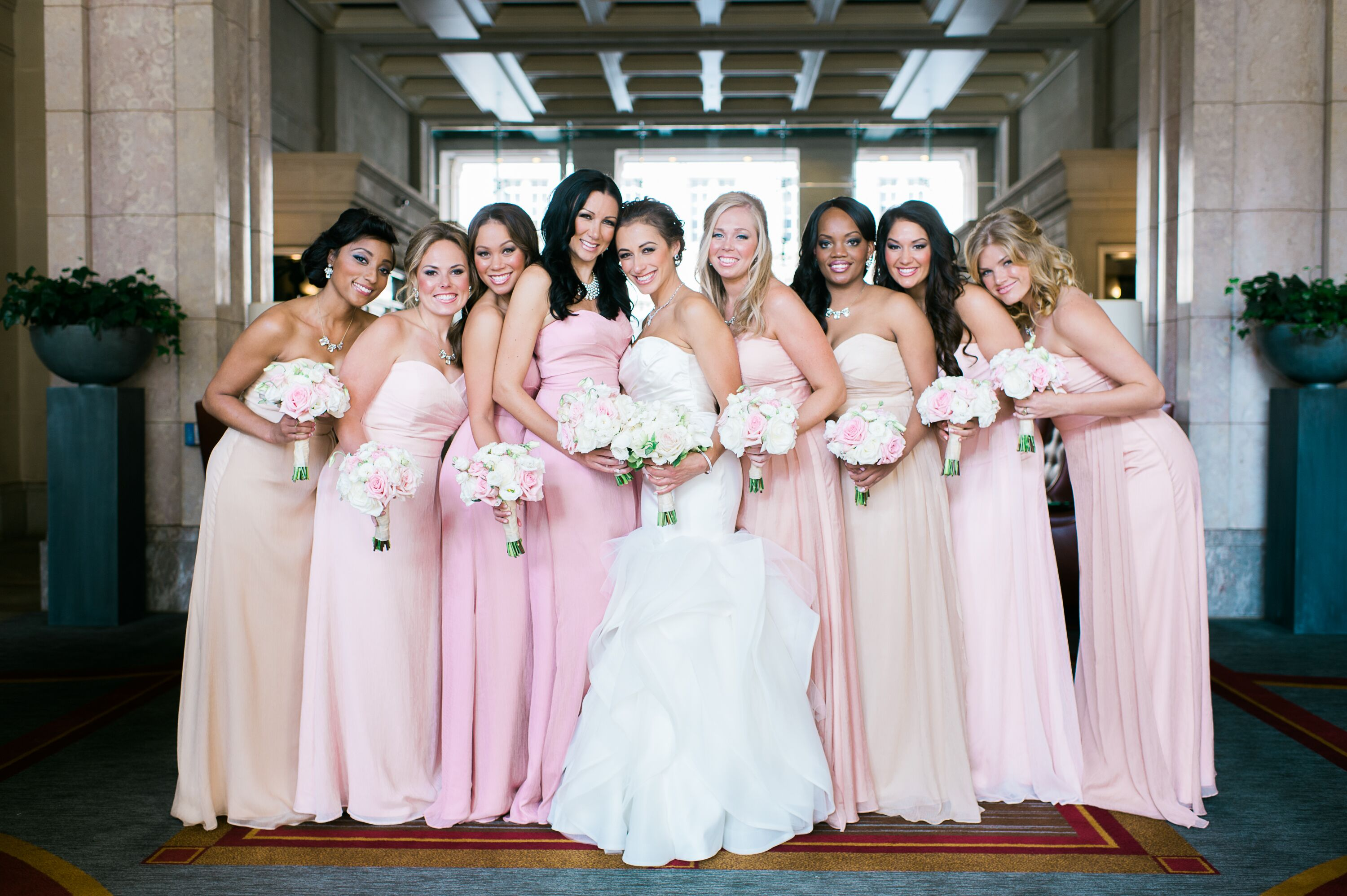 Floor Length Bridesmaid Dresses In Shades Of Pink