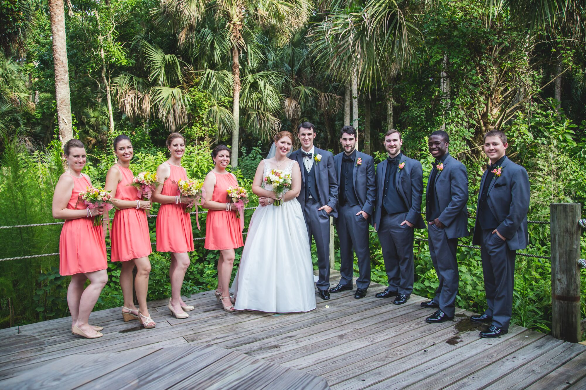 Coral Gray And Black Wedding Party
