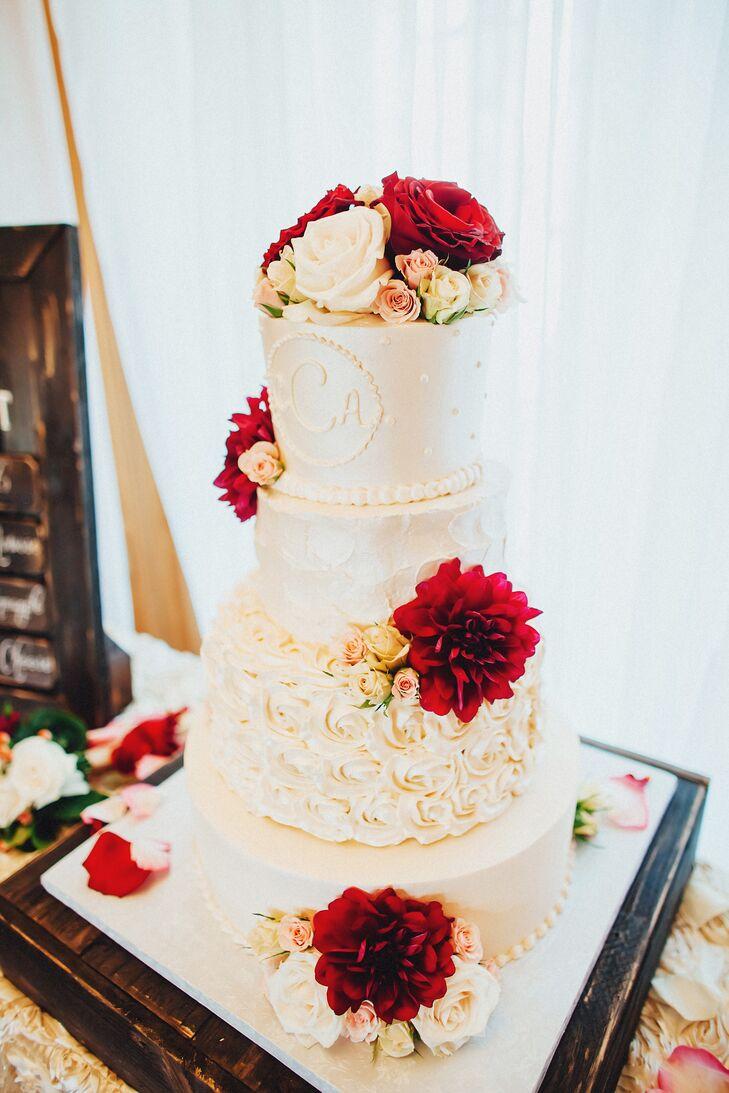 Ivory Buttercream Wedding Cake With Burgundy Flowers