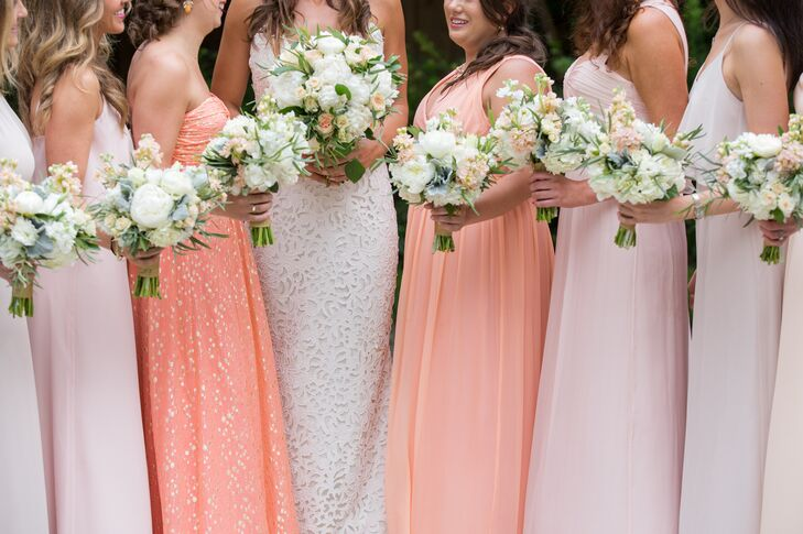 Cheap Wedding Dresses Brooklyn Ny: Mixed Long Peach Bridesmaid Dresses