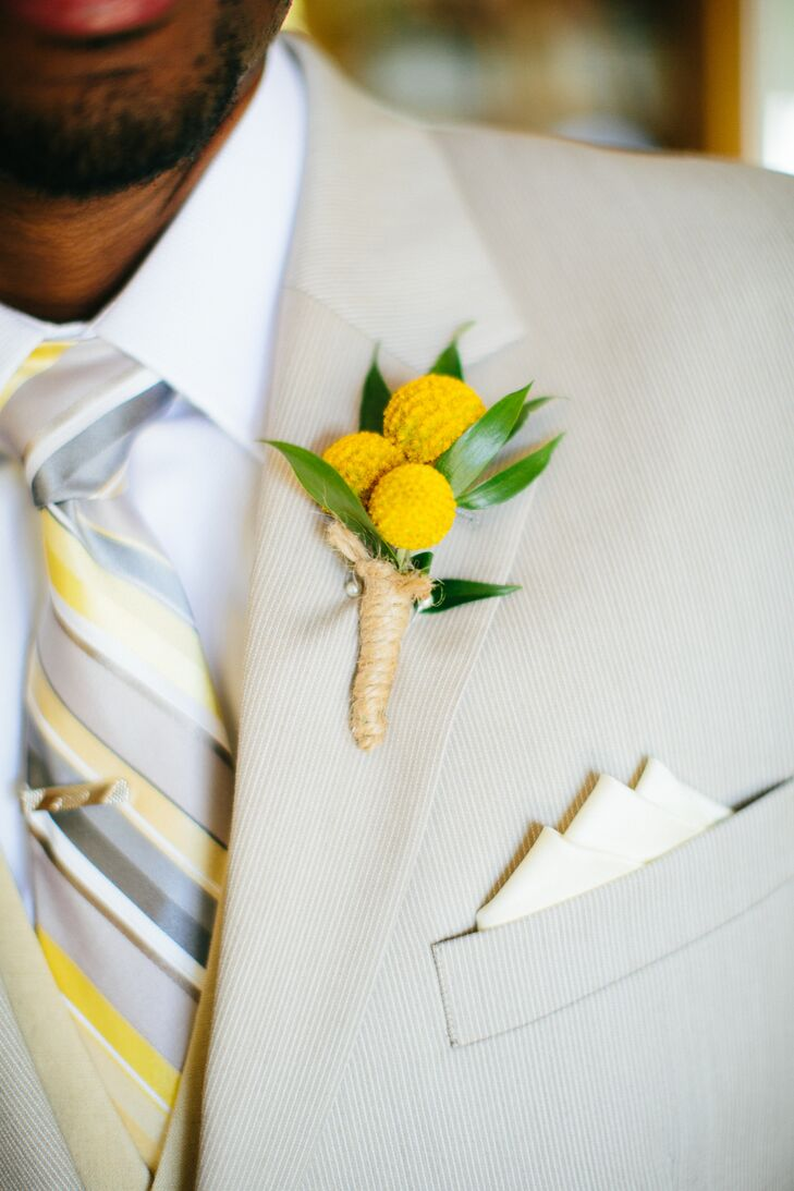 Niager opted for a vibrant billy ball boutonniere that popped against his champagne-colored suit.