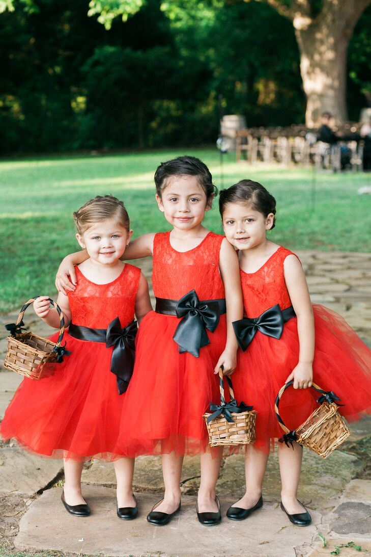 Red Flower Girl Dresses With Black Sash