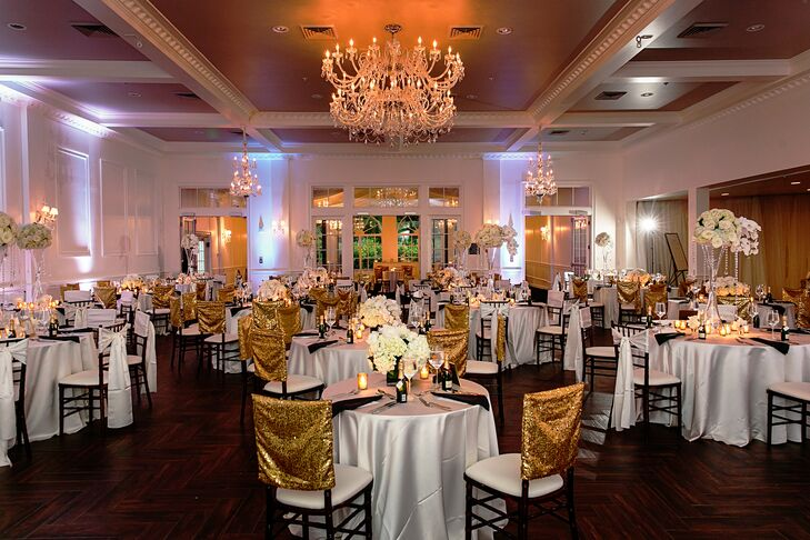 Black-and-White Reception with Gold Accents