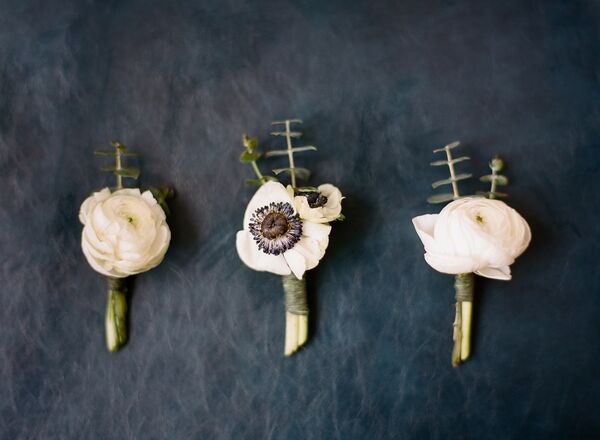 Simple White Anemone and Ranunculus Boutonnieres