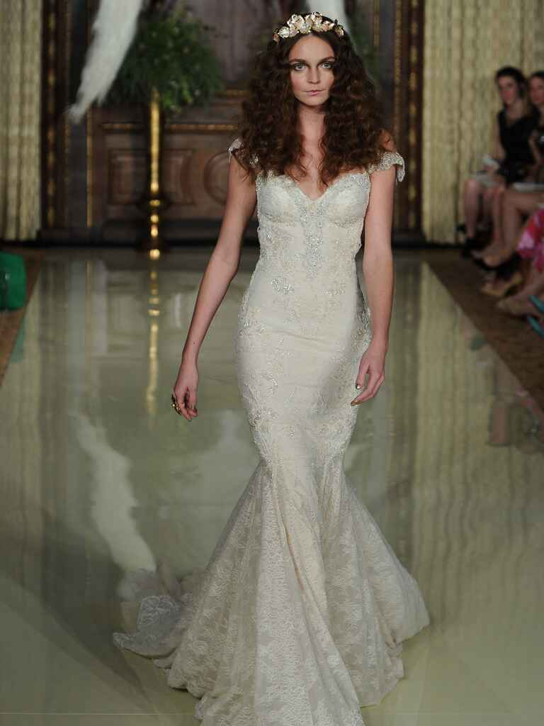Galia Lahav fit-and-flare embroidered beaded wedding dress with sweetheart neckline from Spring 2016