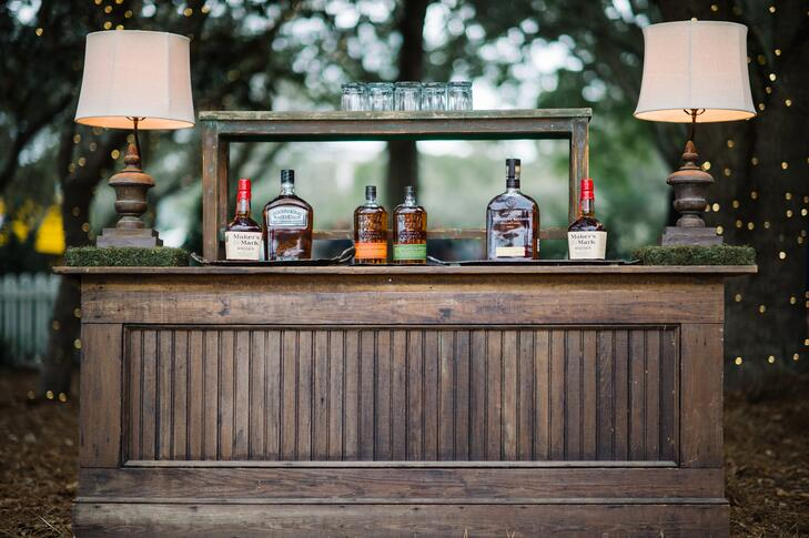 Wooden whiskey bar