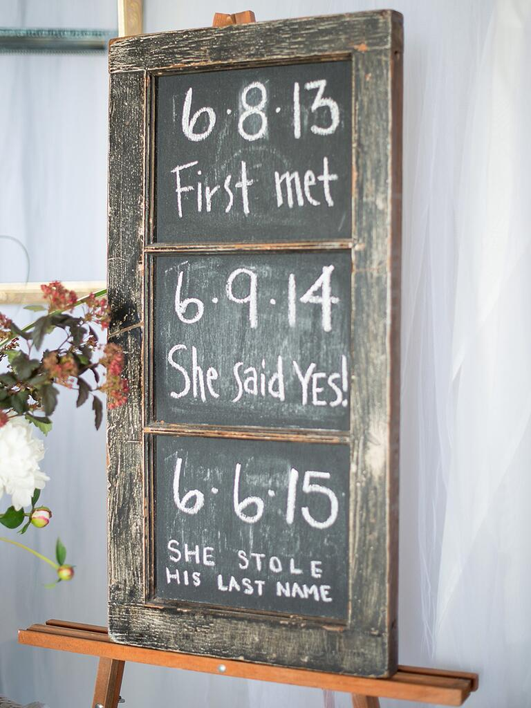 Rustic chalkboard DIY wedding sign
