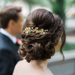 Wedding updos elegant curled updo with gilded floral hairpiece junglespirit Images