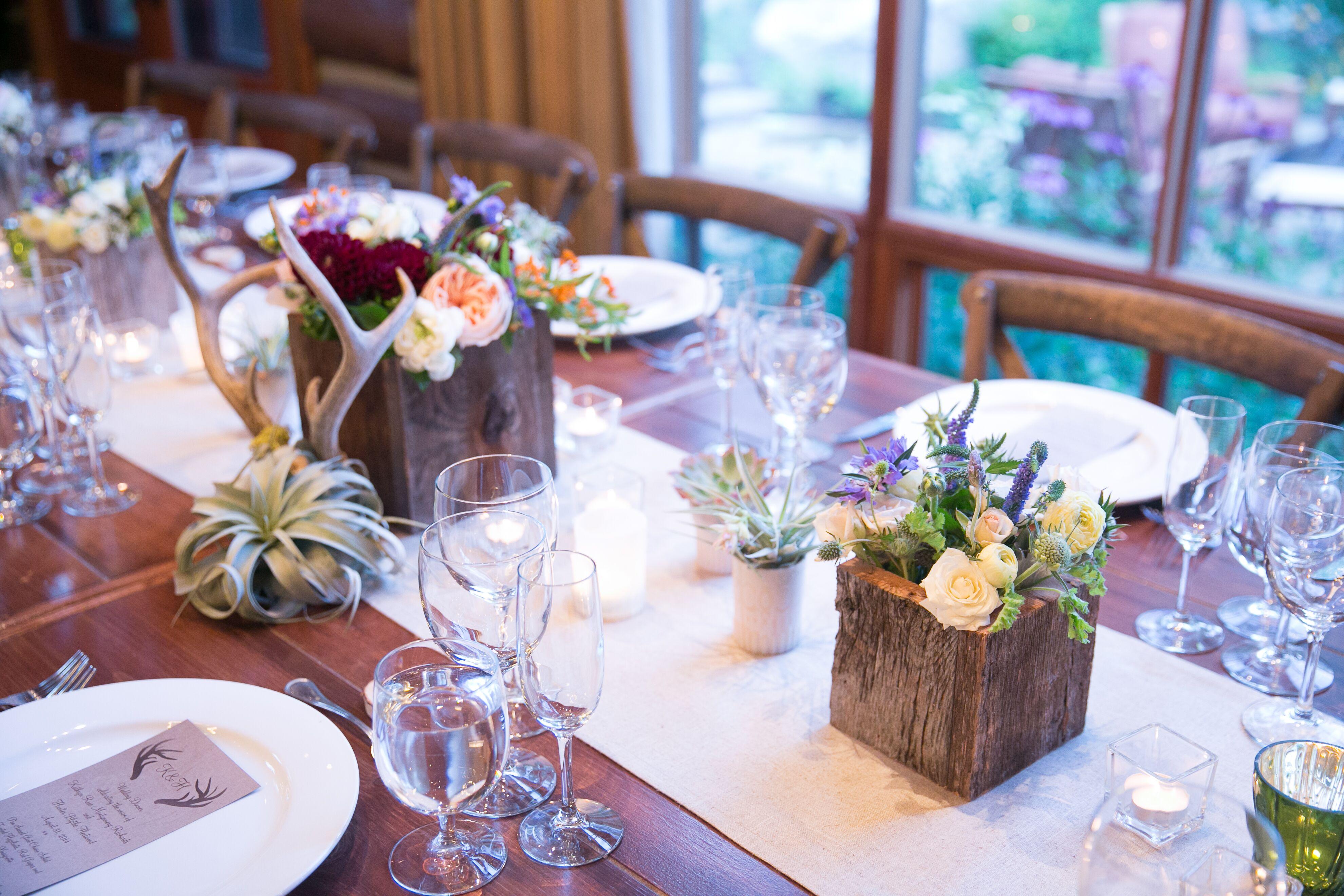 Rustic Wood Antler Succulent Wedding Centerpieces