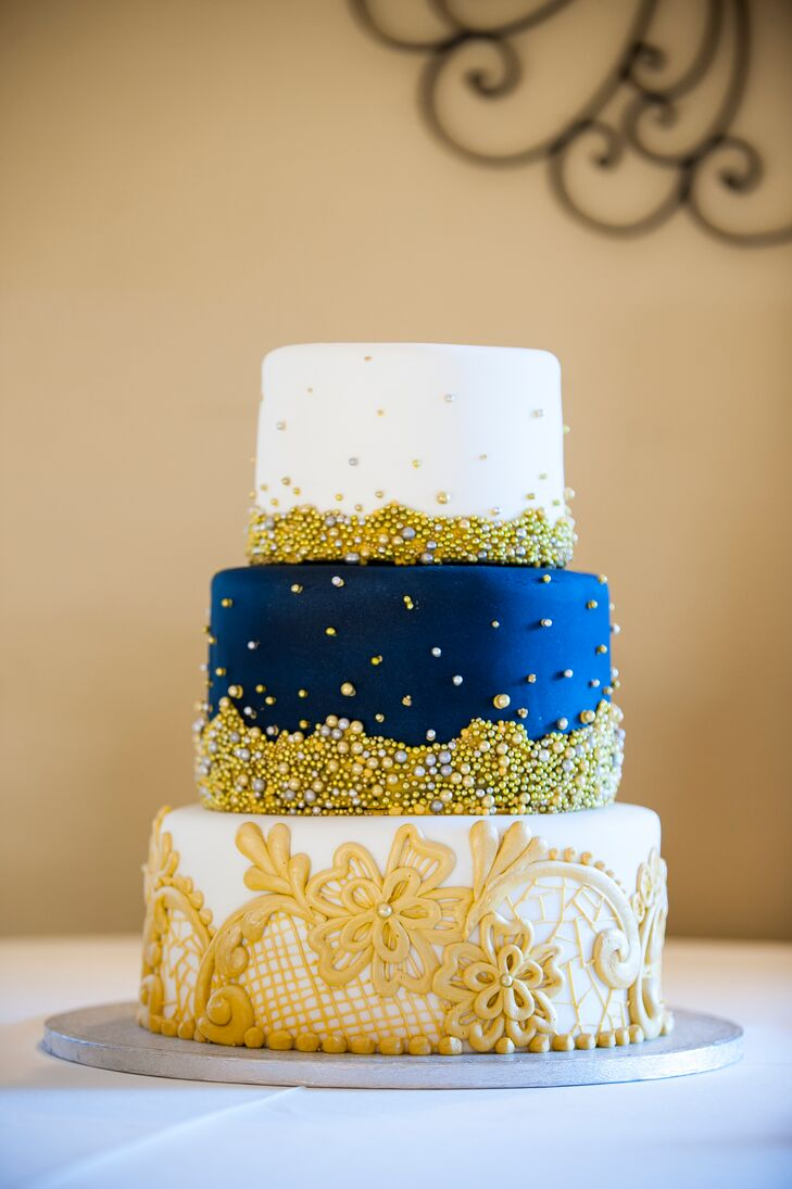 Three-Tier Navy and Gold Wedding Cake