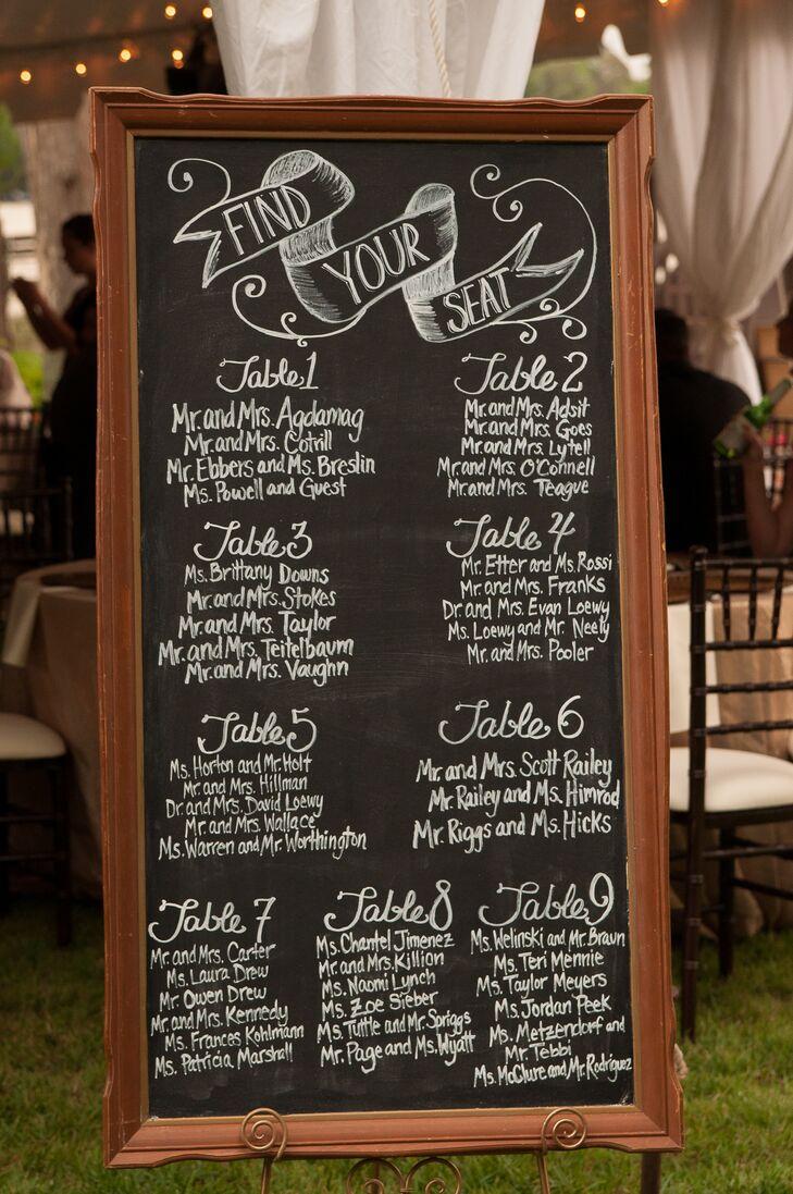 Bronze wood framed chalkboard seating chart