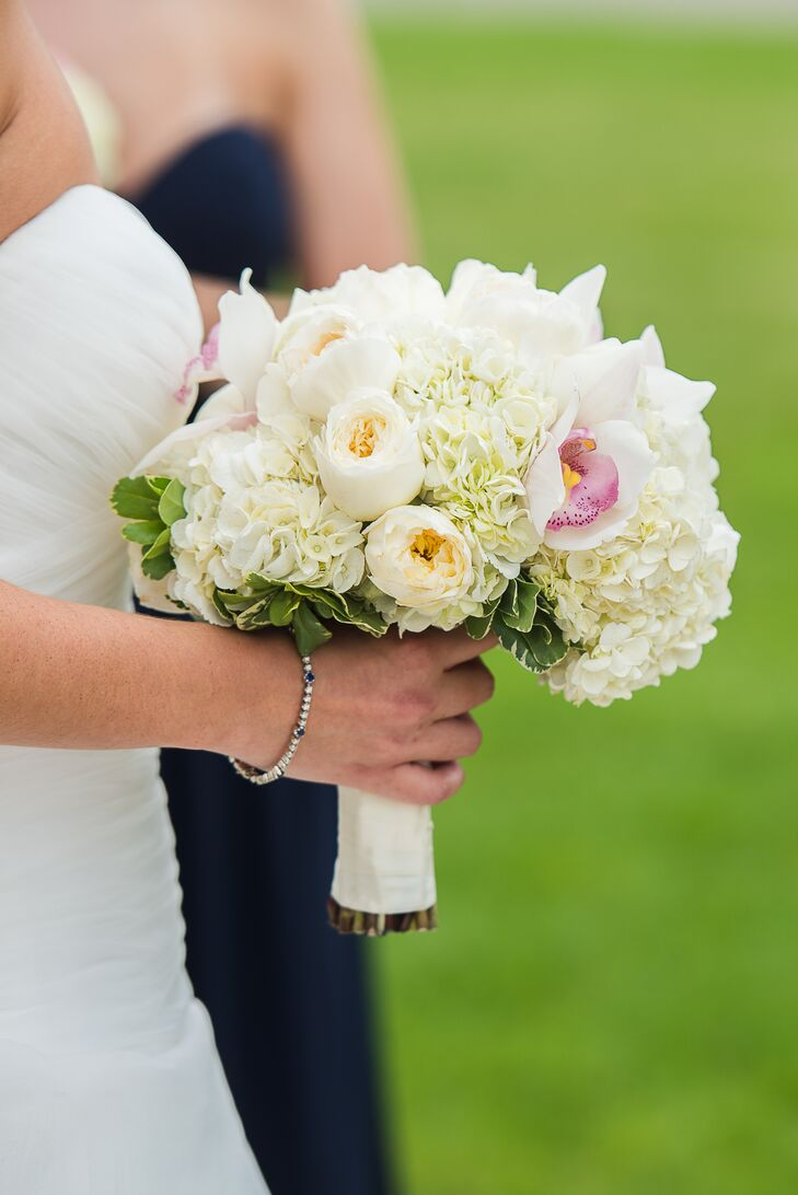 white garden roses and hydrangea bouquet - Garden Rose And Hydrangea Bouquet