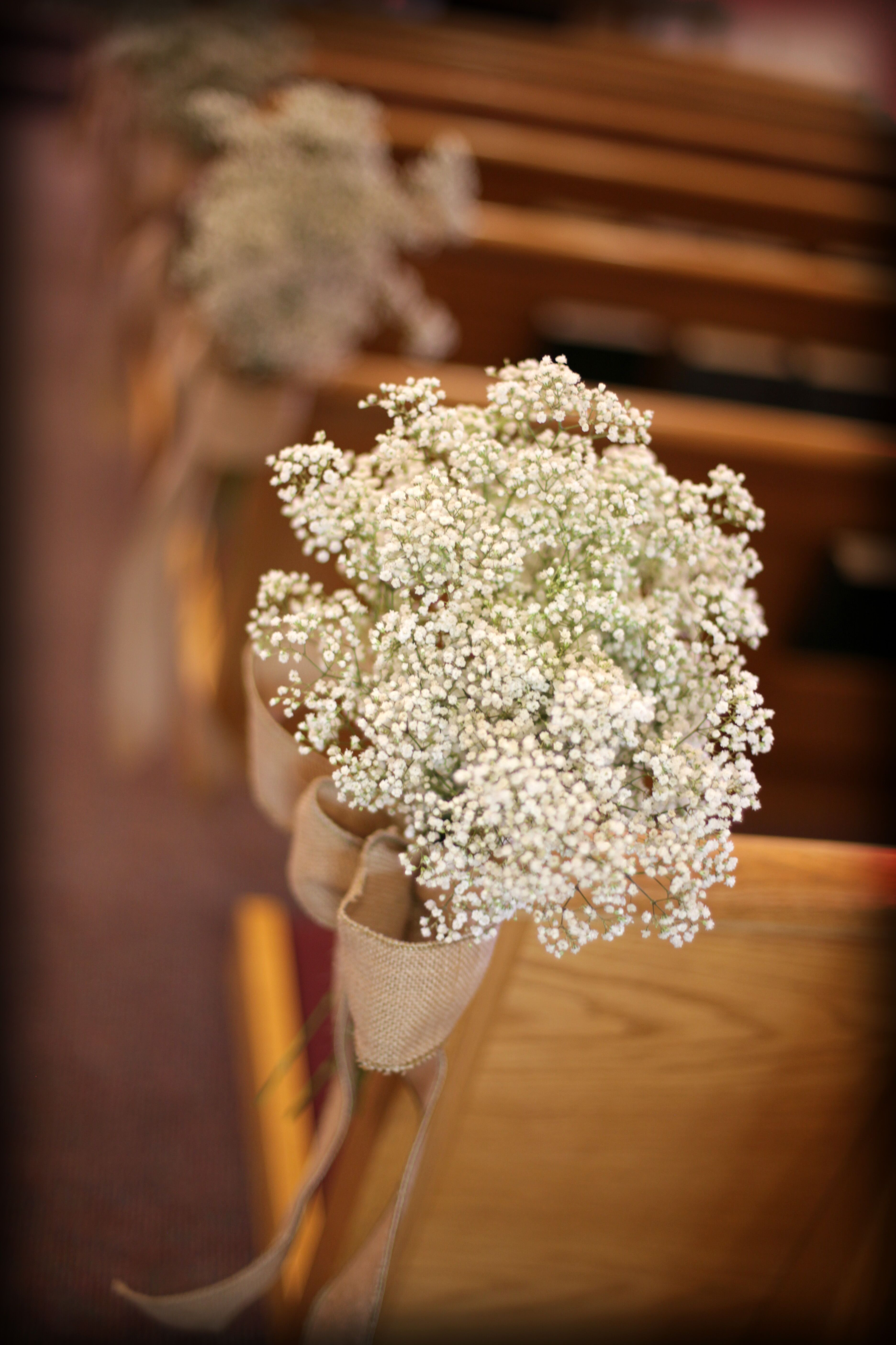 Burlap And Baby S Breath Pew Decorations