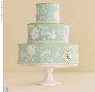 light green cake with lace inspired icing
