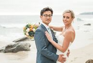 With a modern beachside hotel as their backdrop, Staci Harrison (36 and a registered nurse) and Josh Yune (39 and a medical doctor) exchanged vows wit