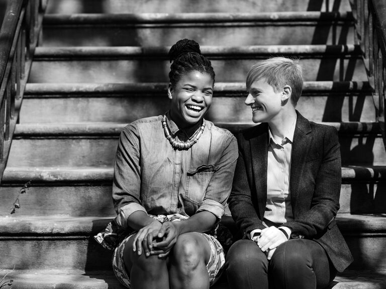 Lesbian couple engagement session