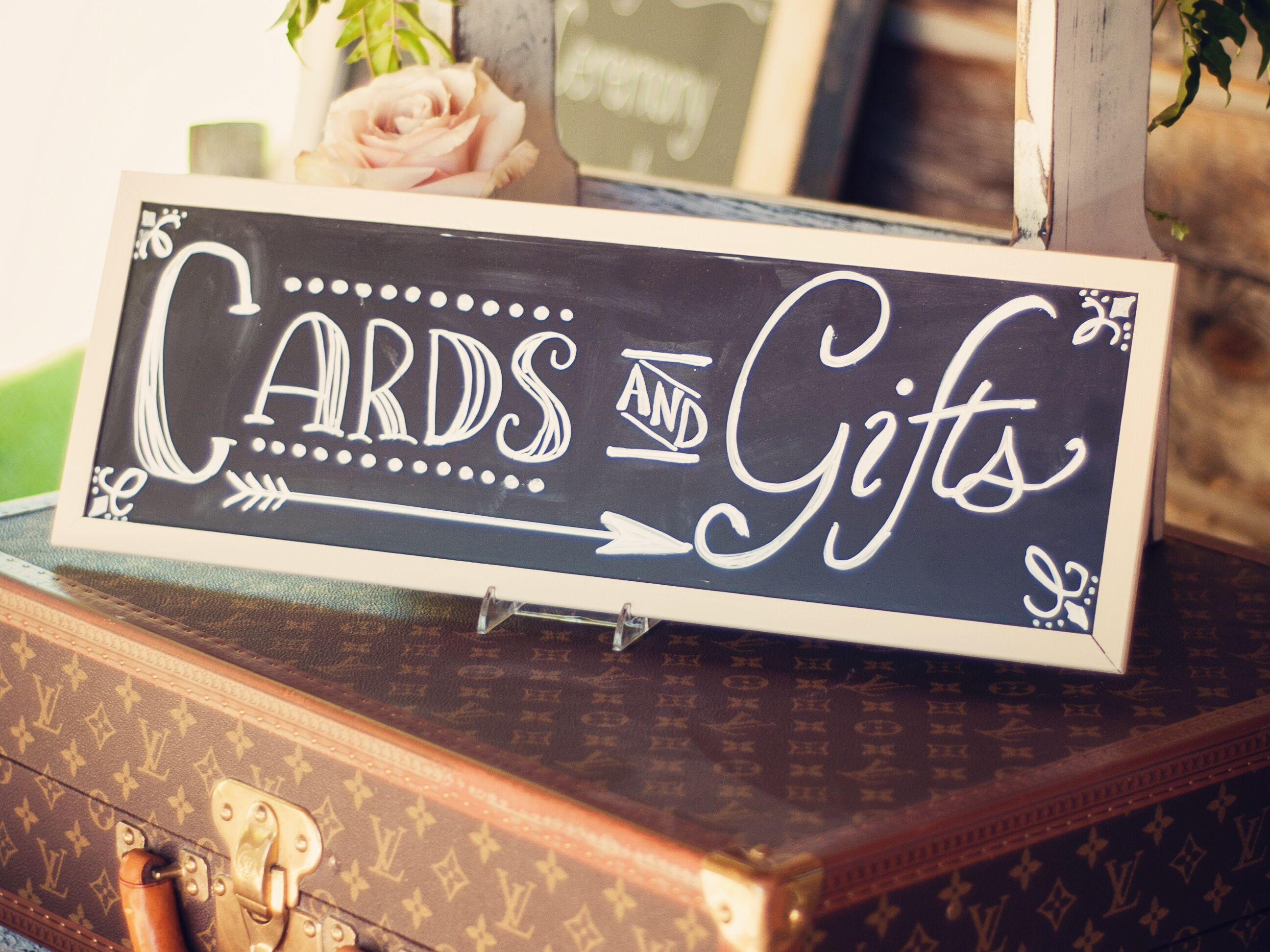 Wedding Gift Etiquette Evening Guests : Chalkboard cards and gifts sign at wedding reception