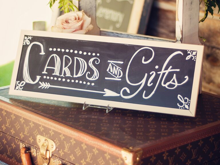 Wedding Gift Bag Etiquette : Chalkboard cards and gifts sign at wedding reception