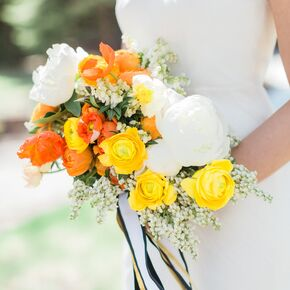 Yellow wedding bouquets vibrant yellow orange and white bridal bouquet mightylinksfo