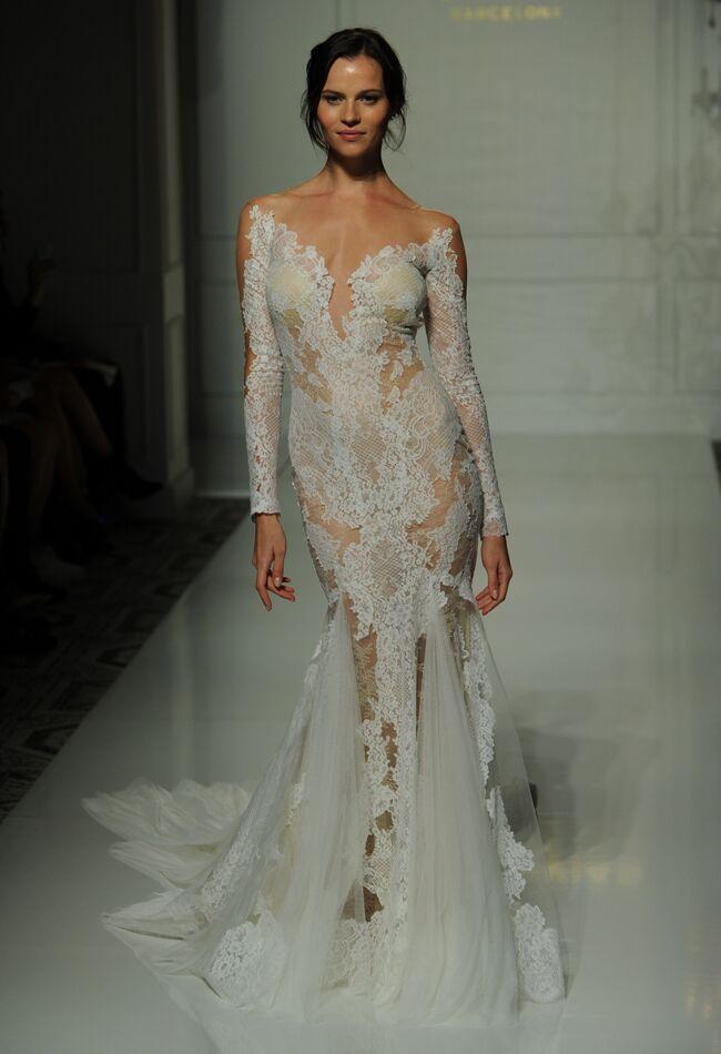 Pronovias fall 2016 collection wedding dress photos pronovias sheer lace applique mermaid style wedding dress with long sleeves fall 2016 junglespirit Gallery