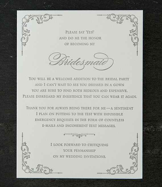 Sapling Press bridesmaid proposal card