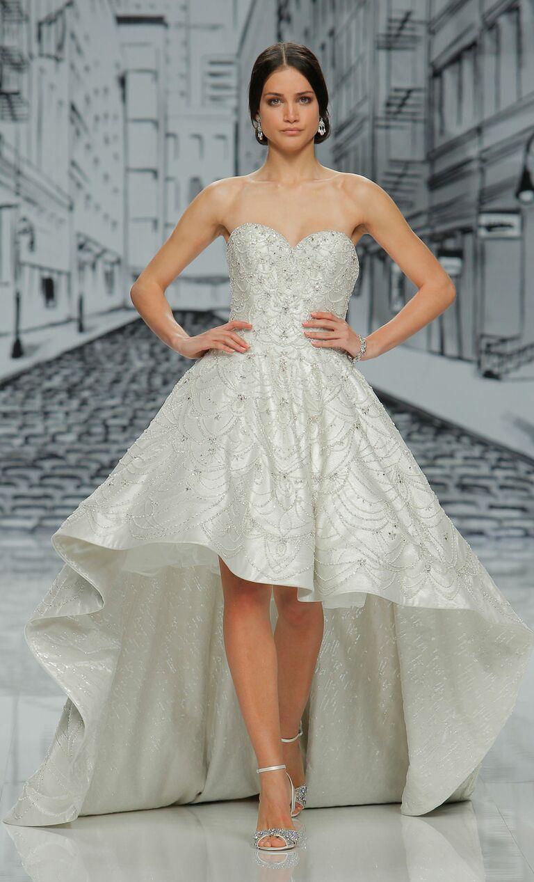 Justin Alexander Spring 2017 Beaded Strapless Wedding Dress With High Low Hemline