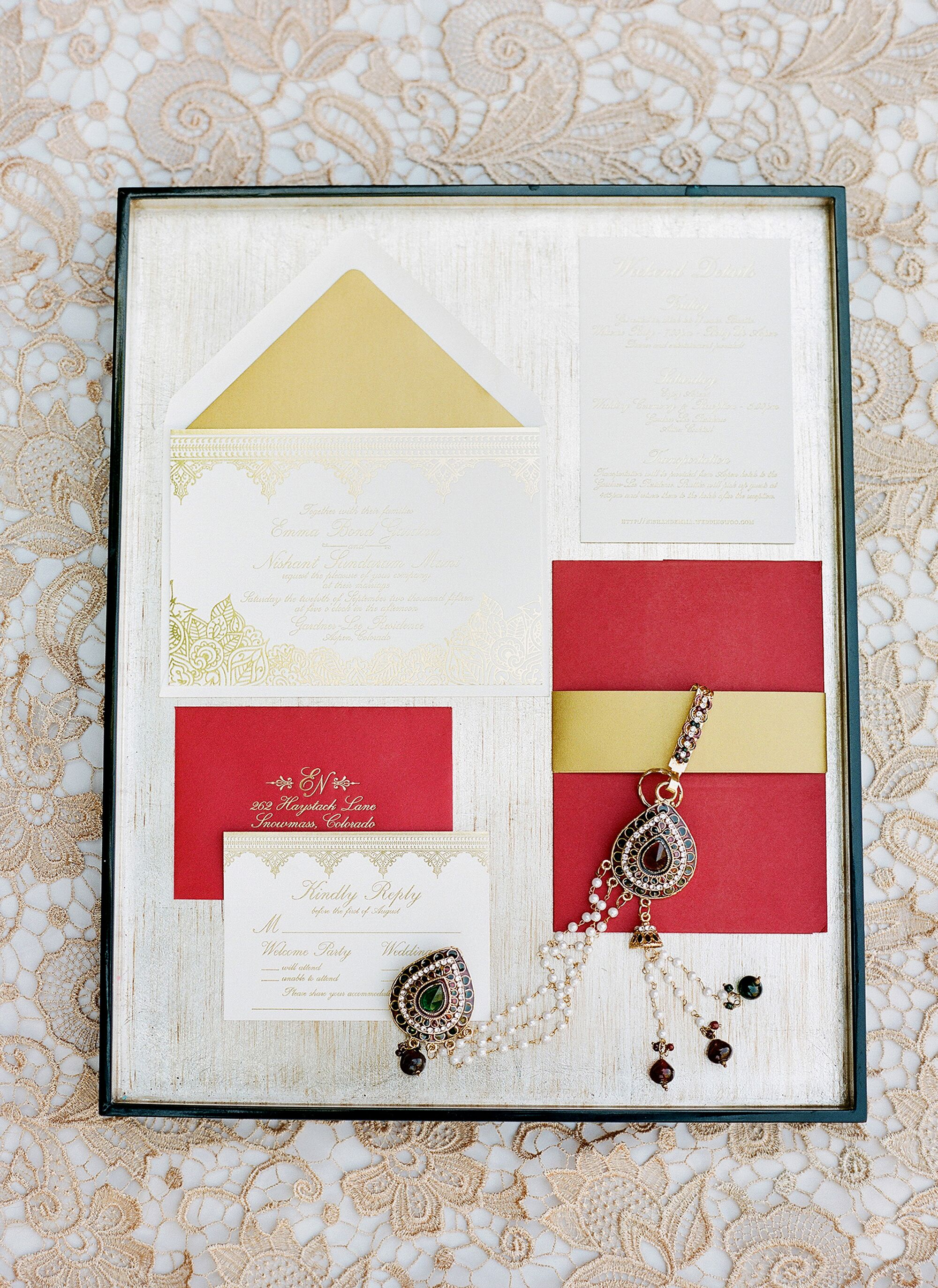 Traditional Red and Gold Indian Wedding Invitations