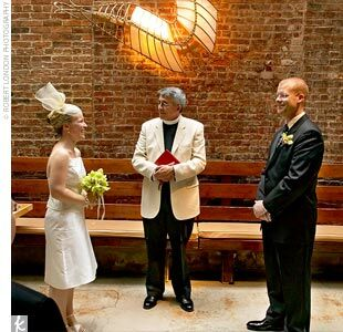Maggie and Jake were married in a traditional Episcopalian ceremony in the back of the Cendrillion restaurant beneath a skylight. A family friend who is a priest at St. Thomas Episcopal Church agreed to perform the ceremony at the unconventional location. Afterward, the space was revamped for the reception.
