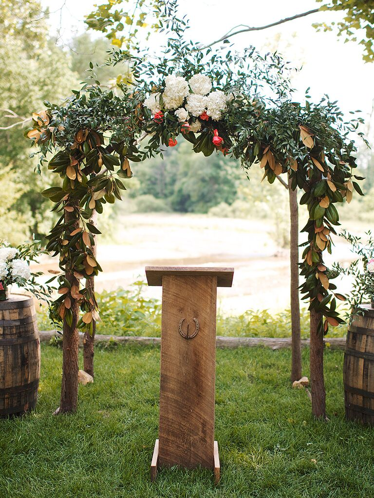 Rustic Natural Wood And Greenery Wedding Arch