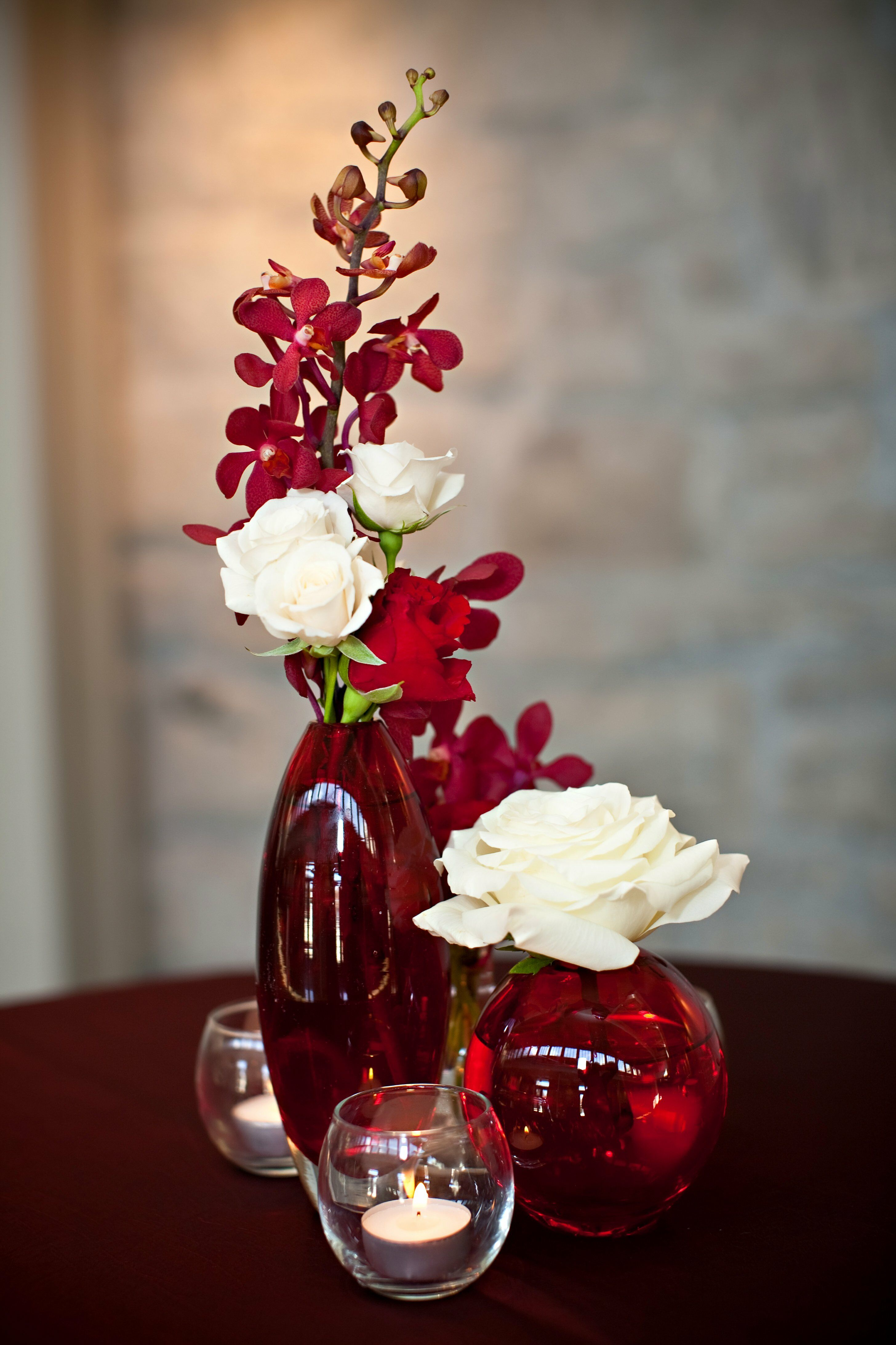 Red And White Orchid And Rose Centerpieces