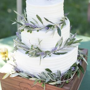 Lavender And Olive Leaf Wedding Cake