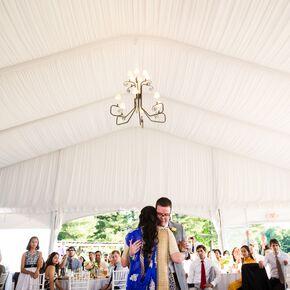 White Linen Draped Tented Wedding Reception