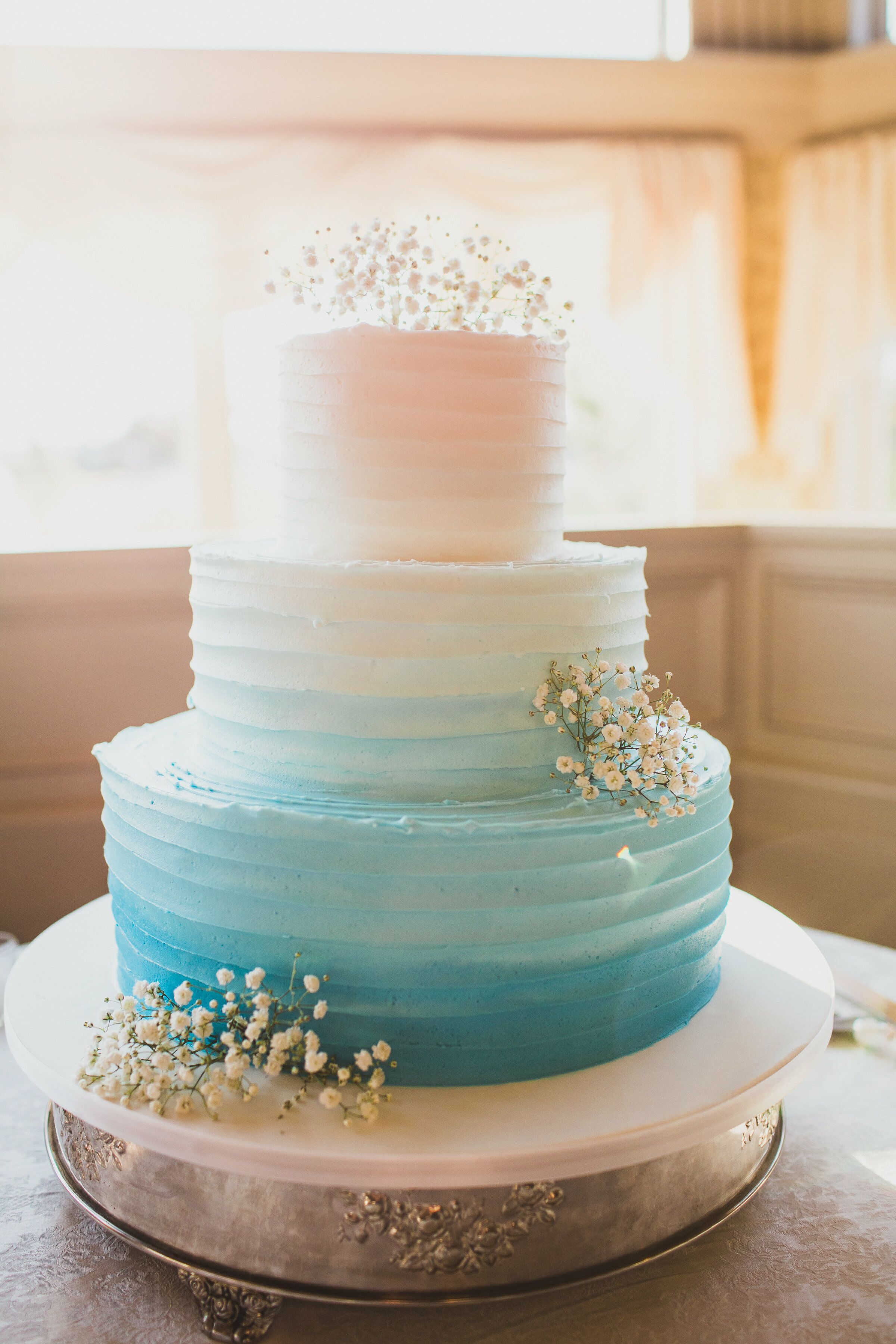 Ombre Blue White Tiered Wedding Cake