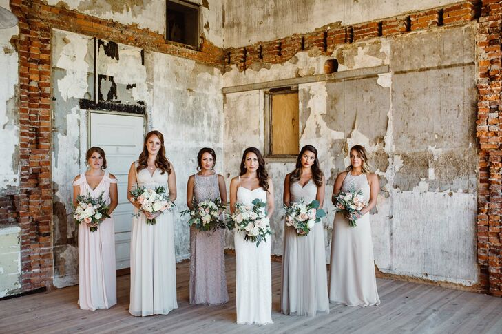 Neutral Mismatched Floor-Length Bridesmaid Dresses