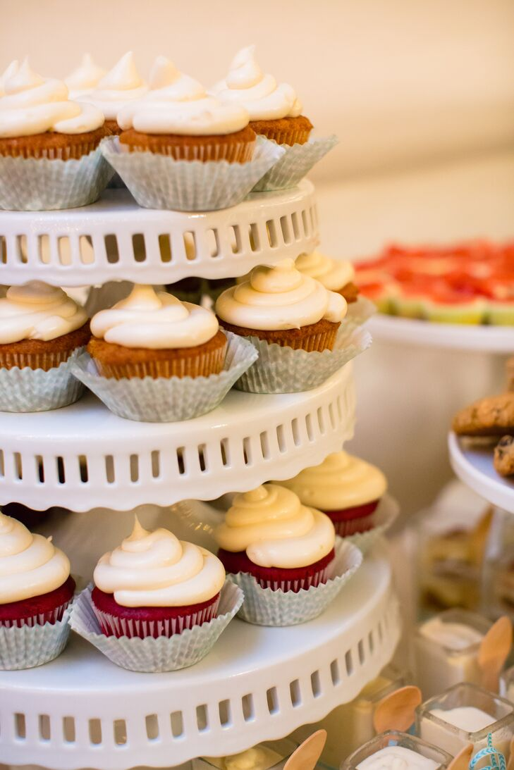 Wedding Reception Cupcakes On White Tiers