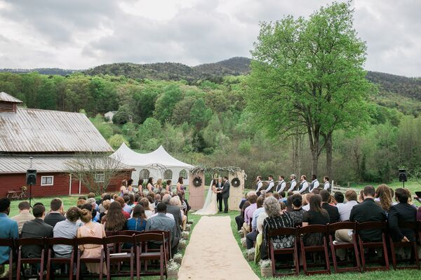 Outdoor Wedding Ceremony Mountain Laurel Farm Six Hearts: Champagne-Colored Wedding Dress Stella York
