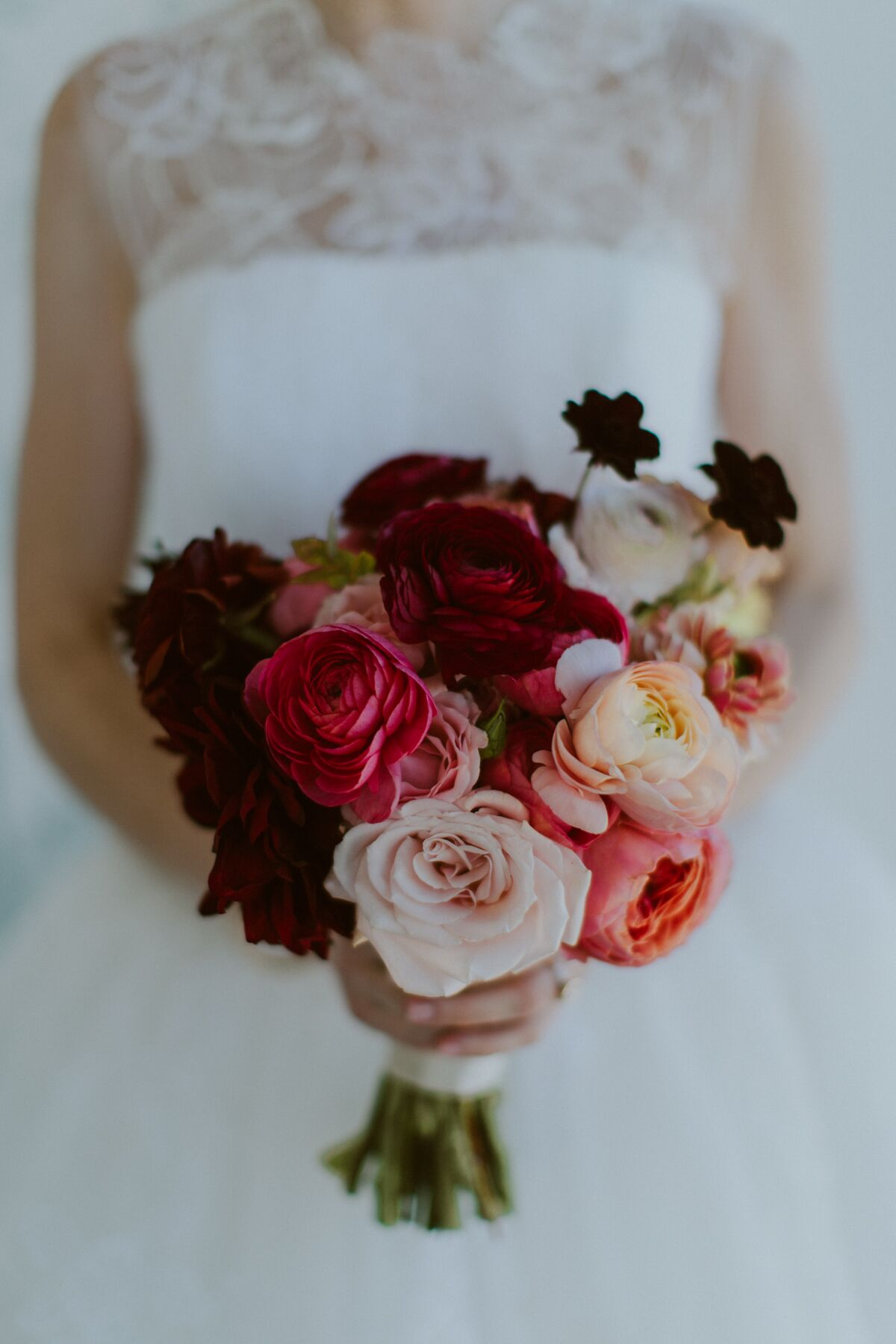 Burgundy Coral And Peach Bouquet