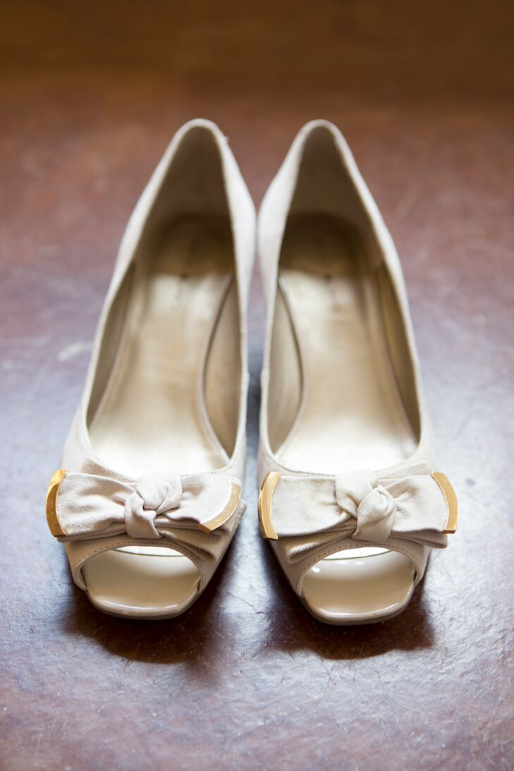 Taupe, Gold Bow Wedding Shoes