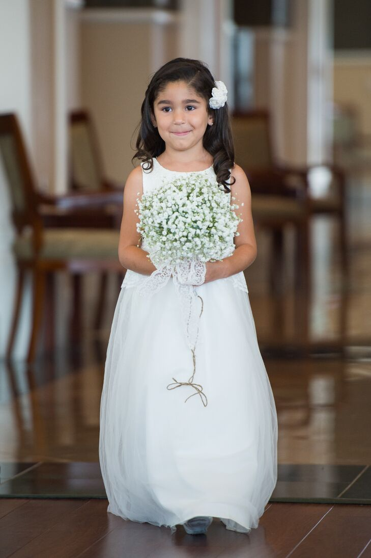 flower girl with baby u0026 39 s breath bouquet