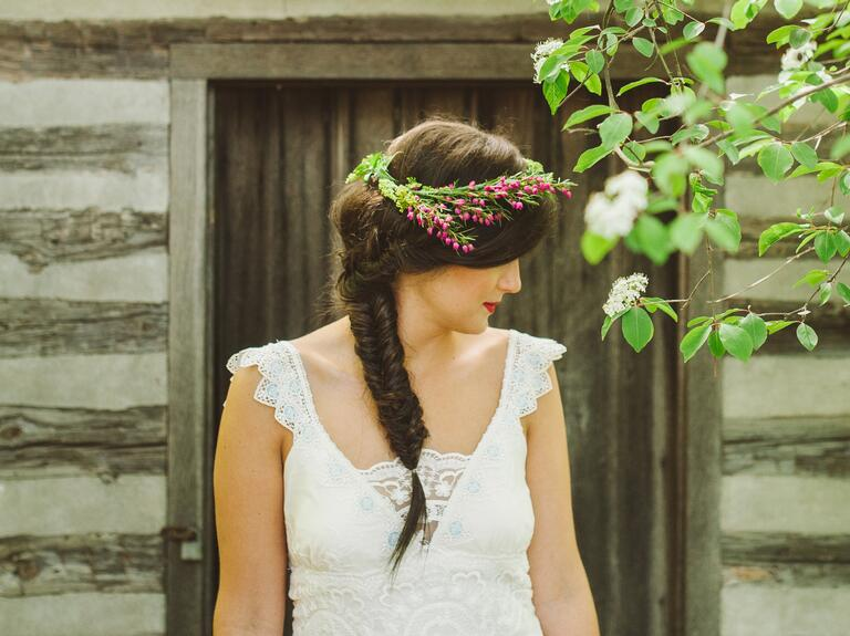 fishtail braid with flower crown