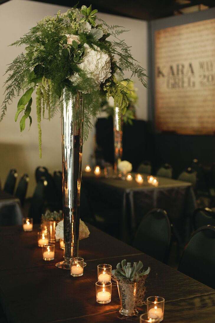 Towering white hydrangea green fern wedding centerpieces junglespirit Image collections