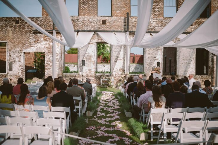 Romantic Petal-Strewn Ceremony Aisle