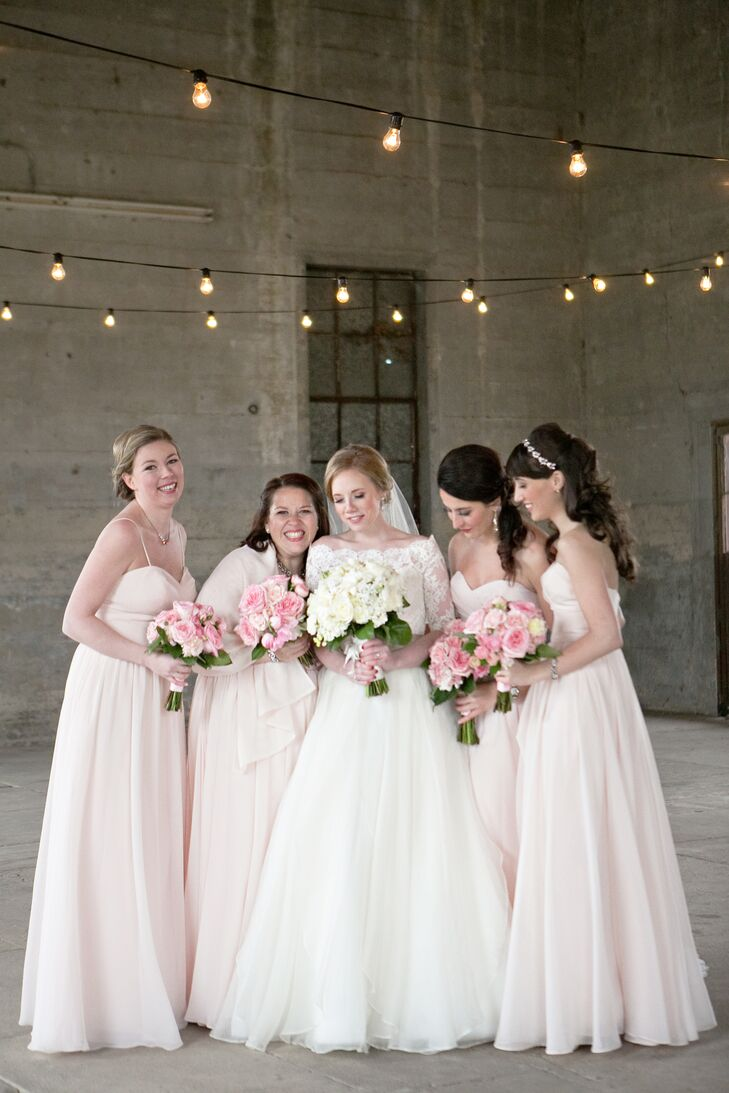 Floor-Length Blush Bridesmaid Dresses